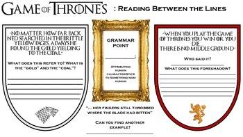 Game of Thrones Comprehension Worksheet- Reading Between t
