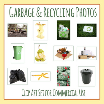 Garbage and Recycling Photos / Photograph Clip Art Set for