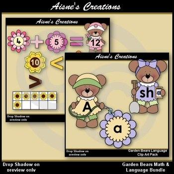 Garden Bears Math & Language Clip Art Bundle