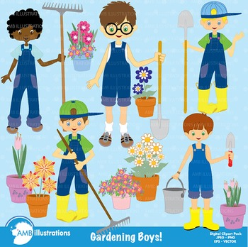 Garden Clipart, Gardening Clipart, Boys Clipart, Clip Art,