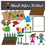 Garden Clip Art in Color and Black Line