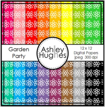 Garden Party 1 {12x12 Digital Papers for Commercial Use}
