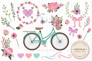 Garden Party Floral Bicycle Vectors - Flower Clipart, Peon