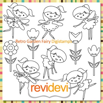 Garden fairies and flowers clip art (digital stamps, color