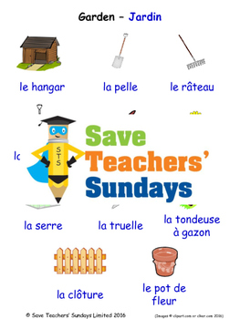 Garden / Yard in French Worksheets, Games, Activities and
