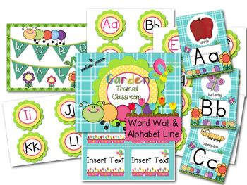 Garden/Bug Theme Word Wall Letters and Alphabet Line Posters