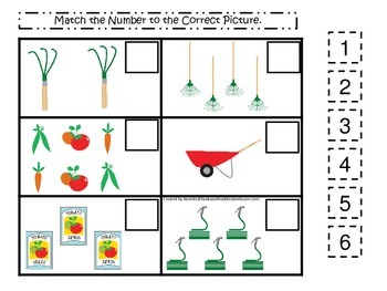 Gardening themed Match the Number  preschool learning game