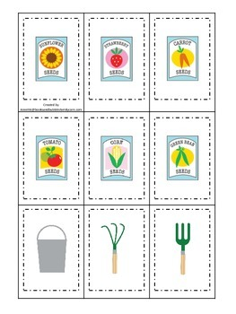 Gardening themed Memory Matching preschool learning game.