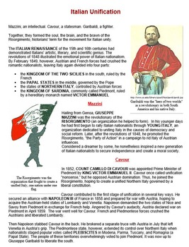 Garibaldi and Italian Unification Worksheet Bundle
