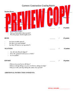 Garment Construction Sewing Grading Rubric for Fashion Des