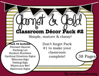 Garnet and Gold Classroom Decor Pack #2