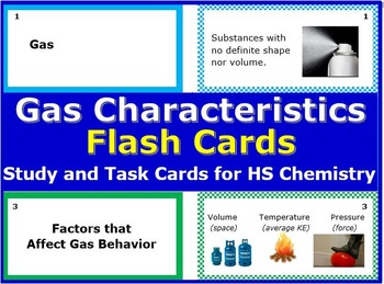 Gas Characteristics and Gas Laws: Printable Chemistry Flash Cards