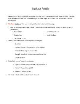 Gas Law Foldable Idea