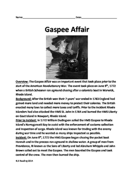 Gaspee Affair Days - Revolutionary War article questions v