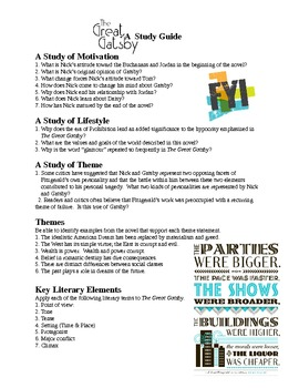 Gatsby Study Guide of Literary Elements