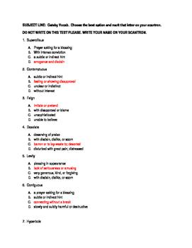 Gatsby Vocab Final Teacher Key Summative Assessment
