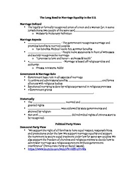 Gay Marriage & Federalism Note Sheet: The Long Road to Mar