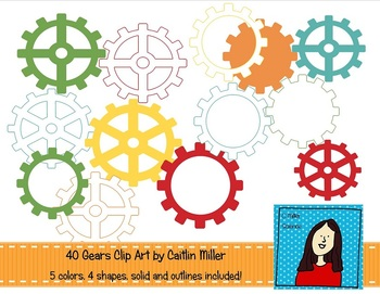 Gears Clip Art - Robot Colors