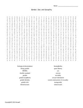 Gender, Sex, and Sexuality Vocabulary Word Search for Sociology