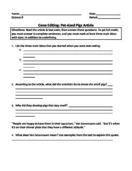 Gene Editing HW Article & Questions