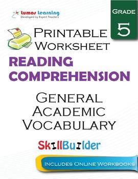 General Academic Vocabulary Printable Worksheet, Grade 5
