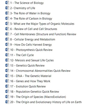 General Biology Quick Review Notes and Handout (20 Unit Pack)