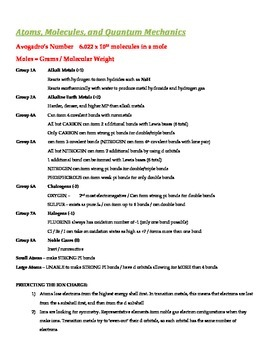 General Chemistry Overview and Outlines (Handout and Study Aid)