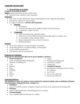 General Chemistry Review Notes (Handout / Study Aid)
