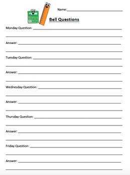 General Design Bell Questions and Exit Questions Sheets
