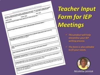 General Education Teacher IEP Input Form