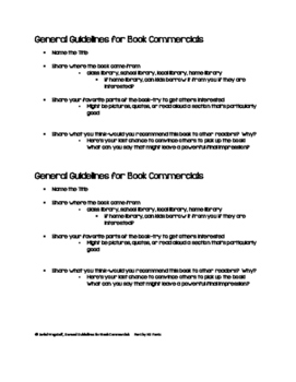 General Guidelines Students Use to Prepare Book Talks or B