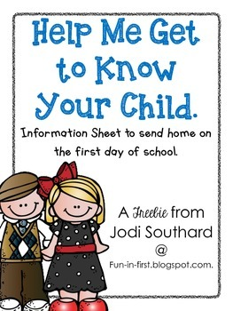 General Information Sheets for the First Day of School