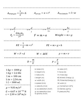 Physical Science Equation Sheet