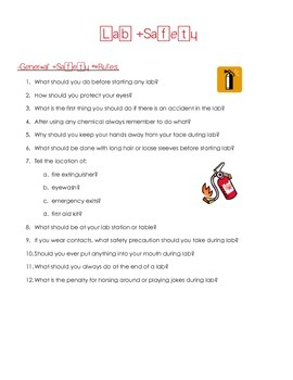 General Science Lab Safety Rules Question Worksheet