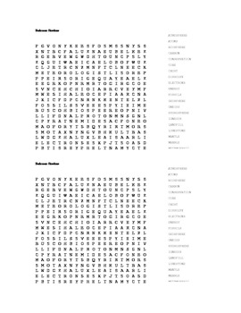 General Science Review Wordsearch