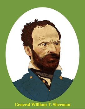 General William T. Sherman Realistic Clip Art, Coloring Pa