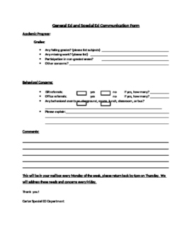 General and Special Education Communication Form