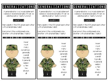 Generalization Bookmarks - Reading Comprehension Skill - C