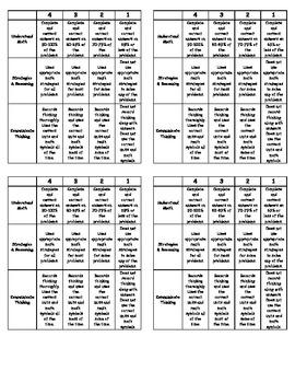 Generic Math Task Rubric
