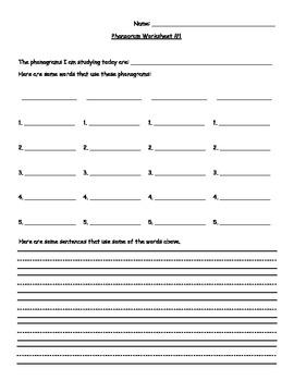 Generic Phonogram Worksheets