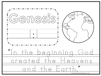 Genesis 1:1 Bible Verse Tracing Worksheet. Preschool-KDG.