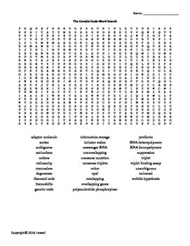 Genetic Code Vocabulary Word Search for Genetics