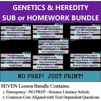Genetics Homework Bundle - NO PREP Sub - Common Core Literacy