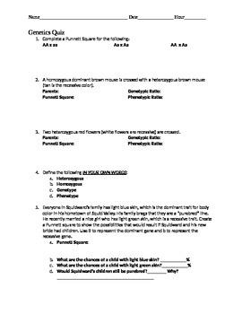 Genetics Quiz- Monohybrid Punnett Square