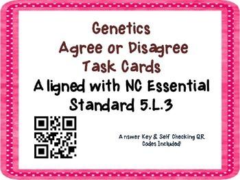 Genetics Task Cards {Agree/Disagree Statement} Common Core