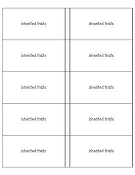 Genetics Vocab cards