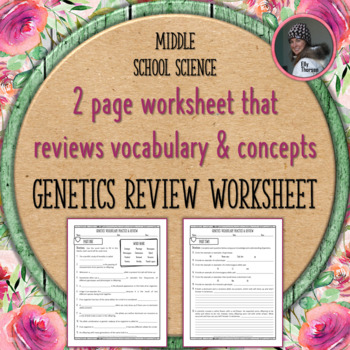 Genetics Vocabulary and Concepts Review Worksheet