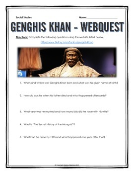 Genghis Khan - Webquest with Key