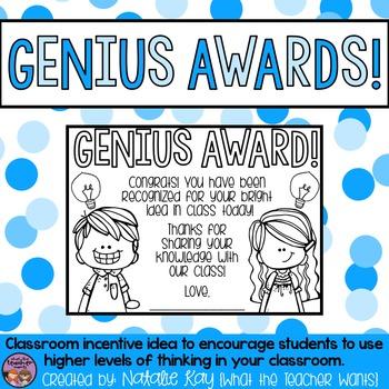 Genius Award - Classroom Incentive for HOTS