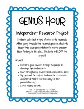 Genius Hour Independent Research Projects for Primary Grades